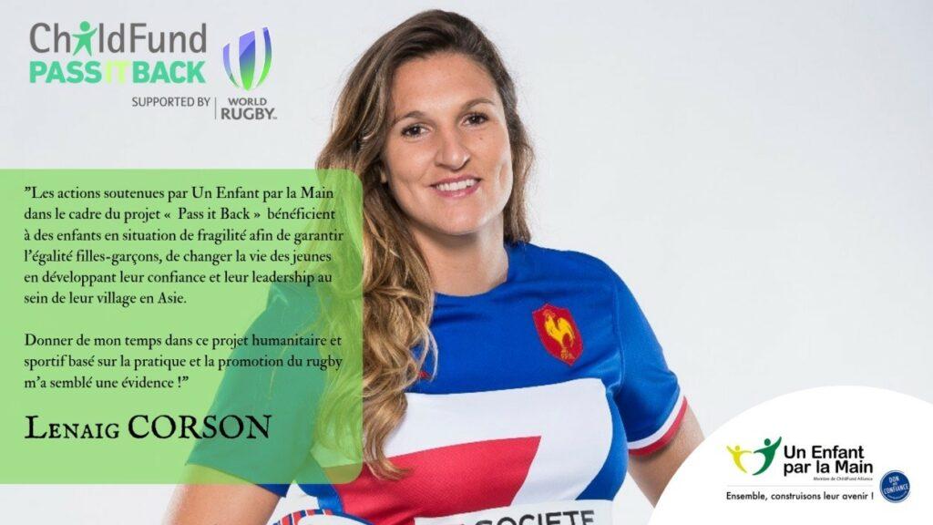Lenaig Corson, joueuse internationale de rugby à VII auStade français Pariset enéquipe de France de Rugby à XVet àVII.