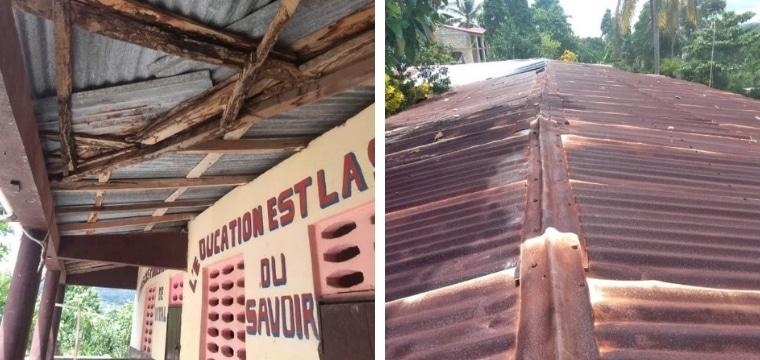 Notre projet: réparer la toiture de l'école Parents Unis de Métayer pour permettre aux enseignants et aux élèves de travailler dans de bonnes conditions et ce en toutes saisons.