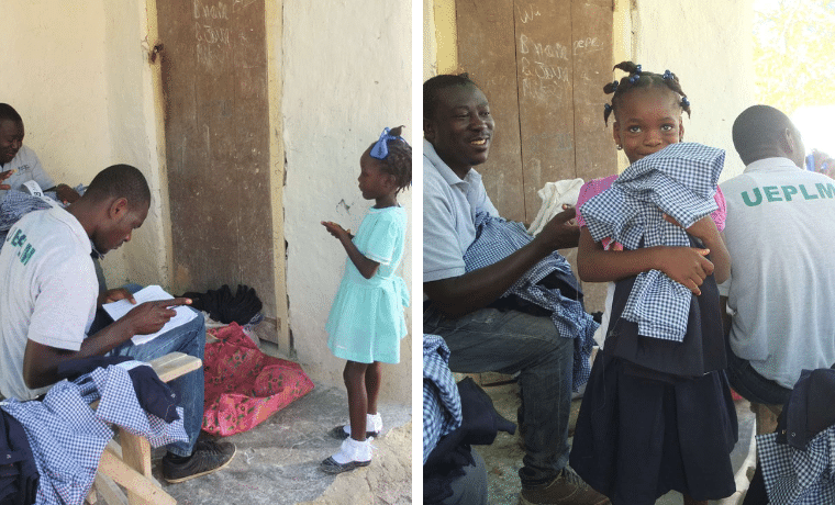 Distribution des uniformes scolaires à l'école Damier Gessé dans le programme de parrainage de la Chaîne des Matheux (CDM)