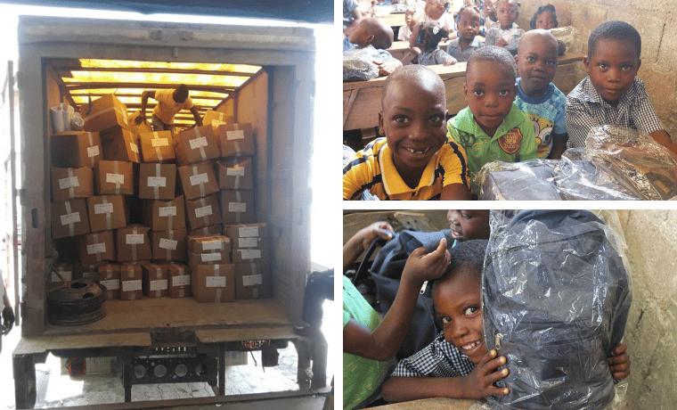Distribution des kits scolaires à l'école Barbe, et Damier Gessé dans le programme de parrainage de la Chaîne des Matheux (CDM)